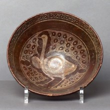 Bowl with ostrich